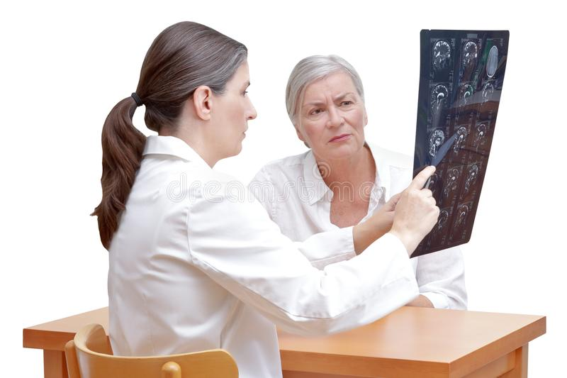 Patient doctor mri brain isolated royalty free stock photo