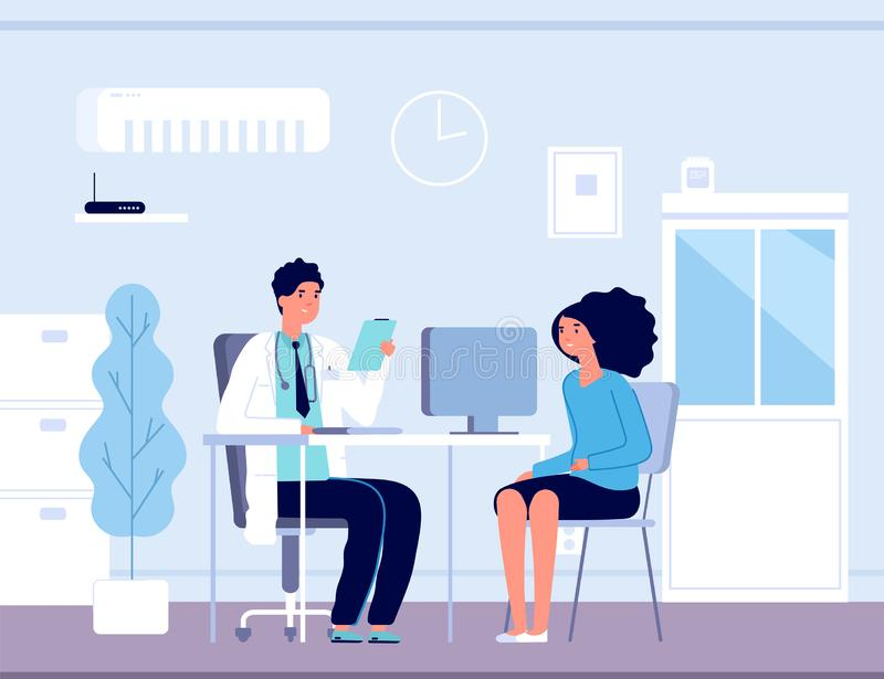 Patient in doctor office. Physician medical consulting. Diagnosis treatment patients in hospital, healthcare vector royalty free illustration