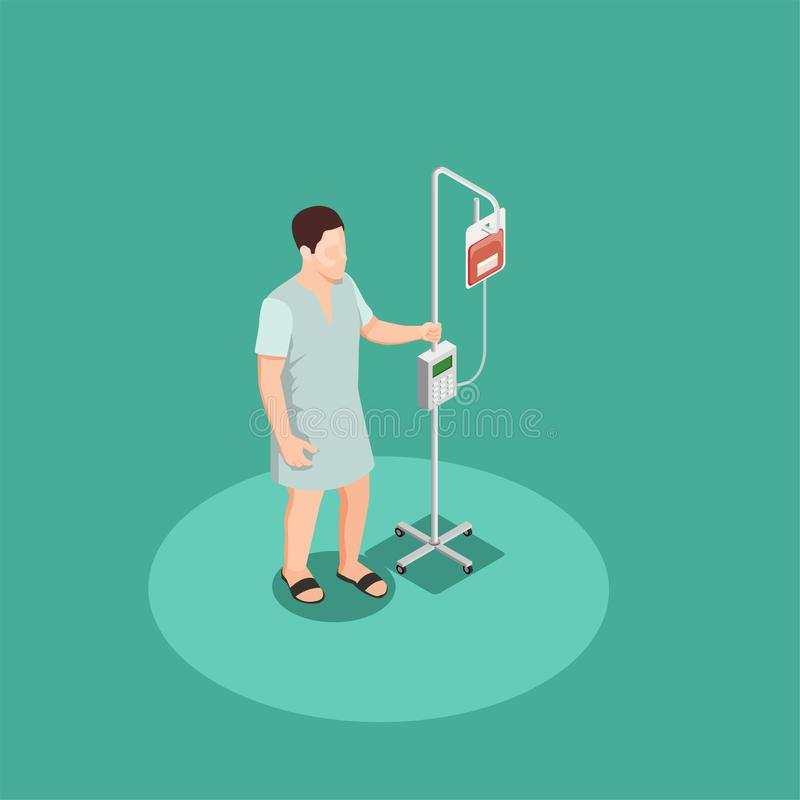 Patient With Dropper Isometric Composition. Patient in hospital clothing with dropper isometric composition on turquoise background vector illustration stock illustration