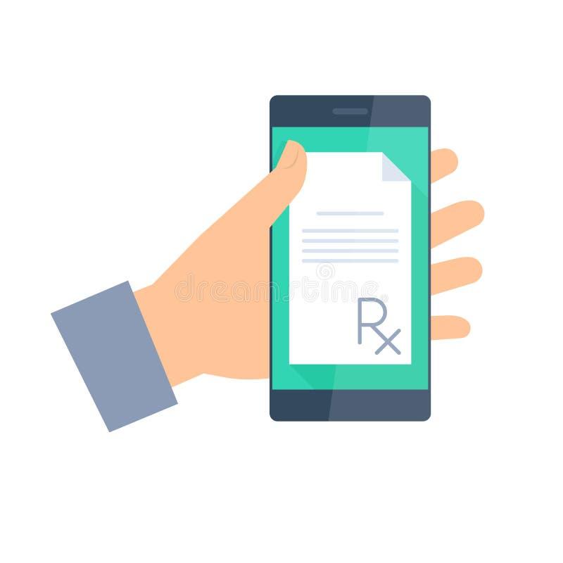 Patient gets prescription by phone. Telemedicine and telehealth. Patient gets prescription by phone. Telemedicine and telehealth flat concept illustration stock illustration