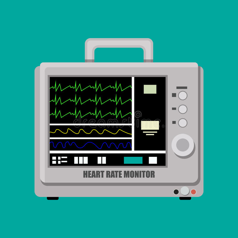 Patient heart rate monitor. Medical cardiac device. Vector illustration in flat style stock illustration
