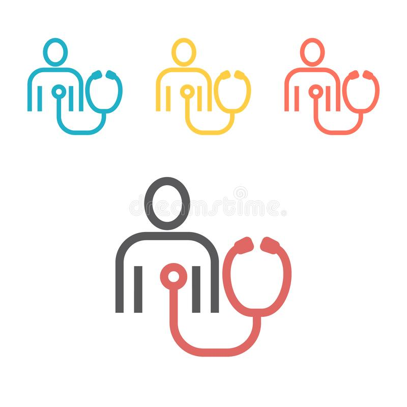 Patient heart test line icon. Vector sign for web graphics. royalty free illustration