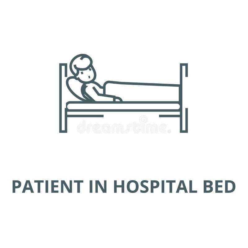 Patient i linjen symbol, linjärt begrepp, översiktstecken, symbol för vektor för sjukhussäng royaltyfri illustrationer