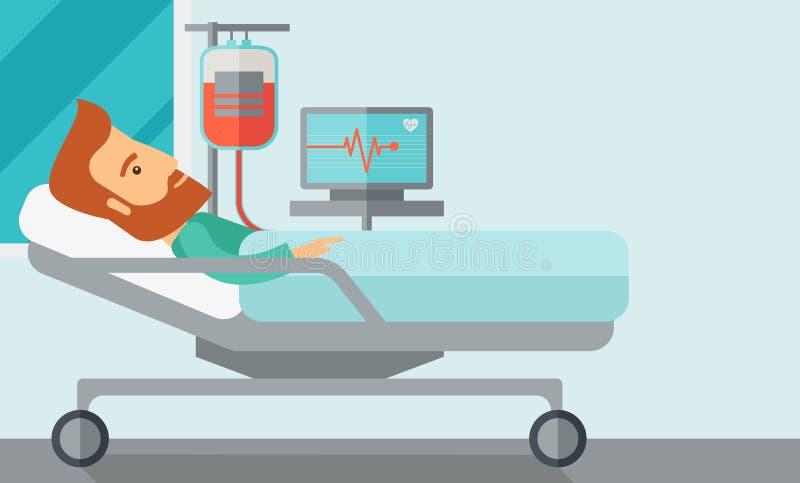 Patient i sjukhussäng som övervakas stock illustrationer