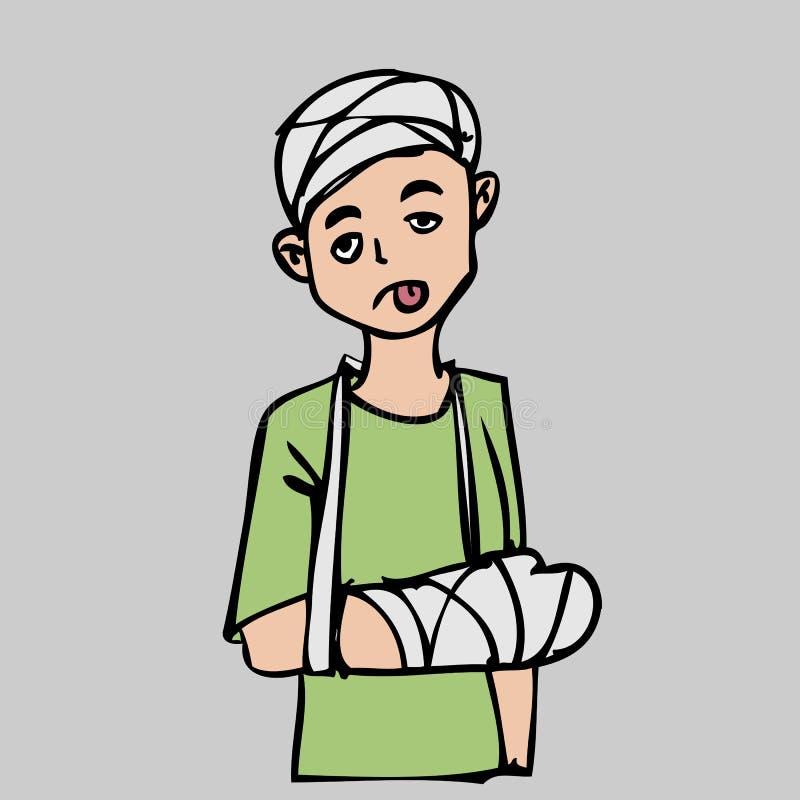 Patient ijury de tête et de main illustration stock