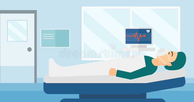 Patient lying in hospital bed with heart monitor. A man in oxygen mask lying in hospital ward with heart rate monitor vector flat design illustration royalty free illustration