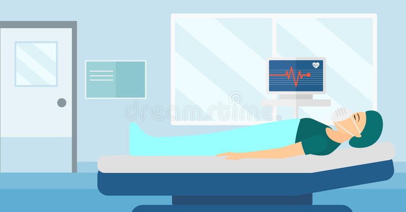 Furniture Design Royalty Rates patient lying in hospital bed with heart monitor. stock vector