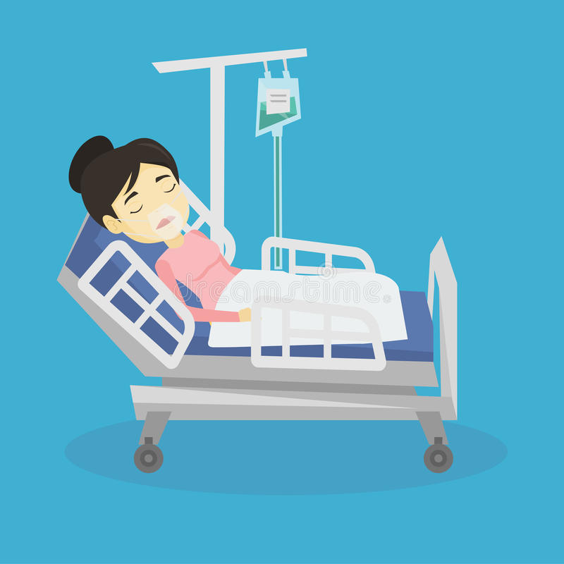 Patient lying in hospital bed with oxygen mask. royalty free illustration
