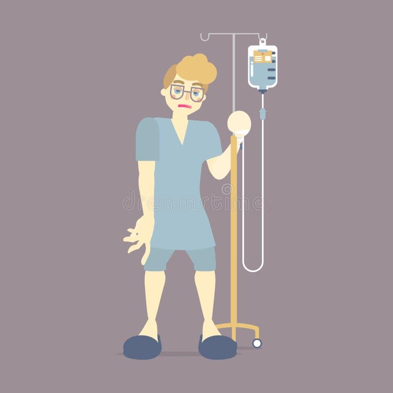 patient masculin triste tenant IV le support intraveineux avec le sang, sac d'égouttement de solution saline, chirurgie, concept  illustration de vecteur