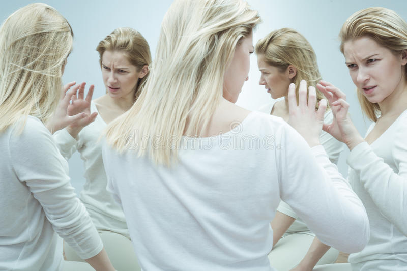 Patient with mental illness stock image