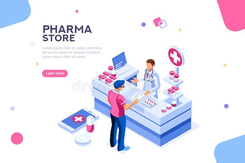 Healthy Patient and Pharmacist Infographic Isometric Vector vector illustration