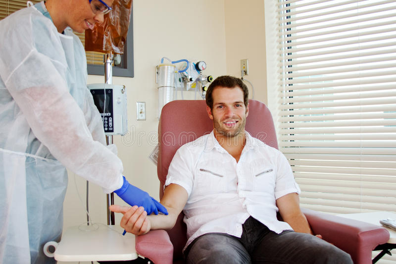 Patient receiving chemotherapy stock image
