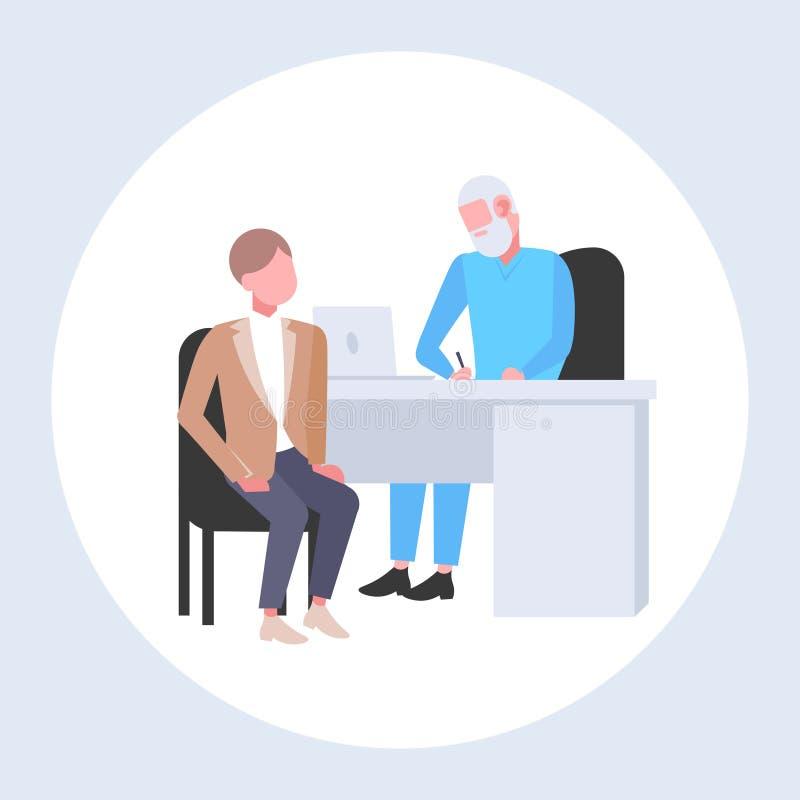Patient recevant un homme de prescription ayant la consultation avec le docteur supérieur s'asseyant à la médecine et aux soins d illustration de vecteur