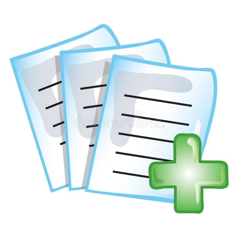 Patient records icon. Stylized icon of patient records (File 17 of 20 in this series)
