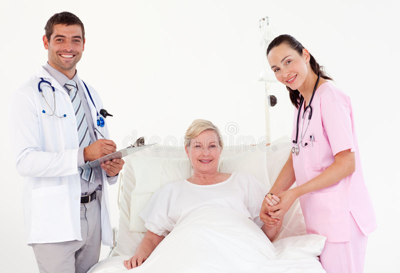 Patient recovering in a hospital. After an operation stock image