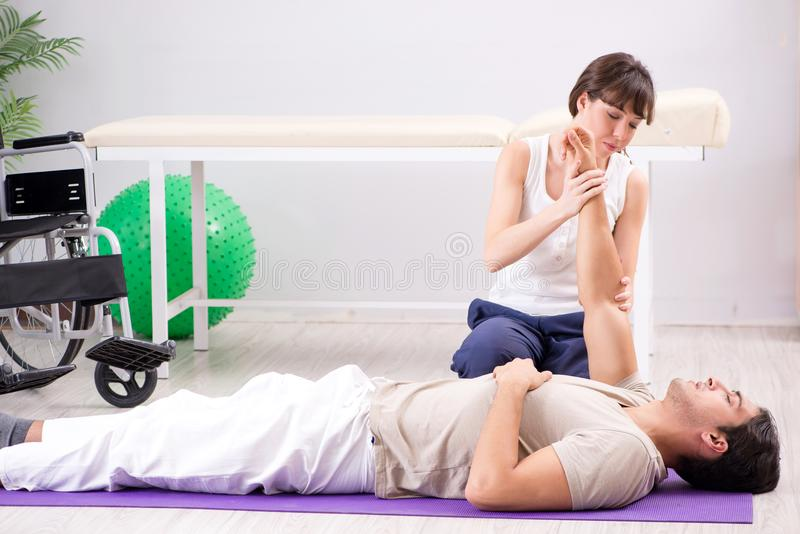 The patient recovering in hospital after injury trauma. Patient recovering in hospital after injury trauma stock images