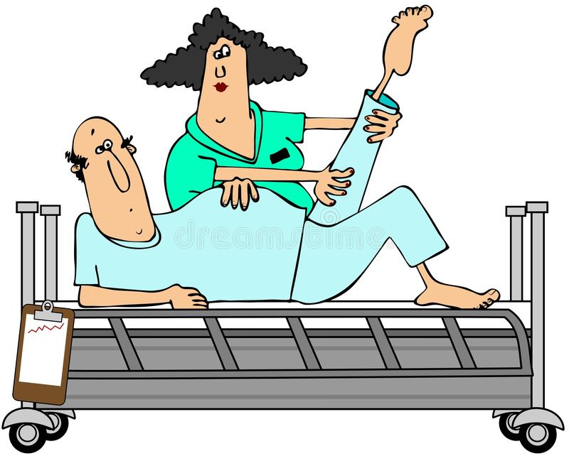 Patient in rehab. This illustration depicts a male patient having his knee rehabilitated by a female worker stock illustration