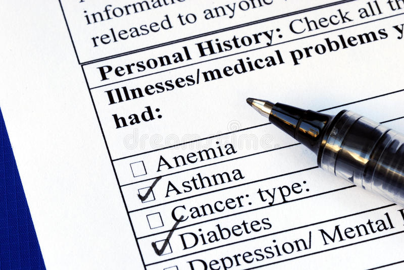Download Patient Selects The Illness In The Medical History Royalty Free Stock Photos - Image: 12281618