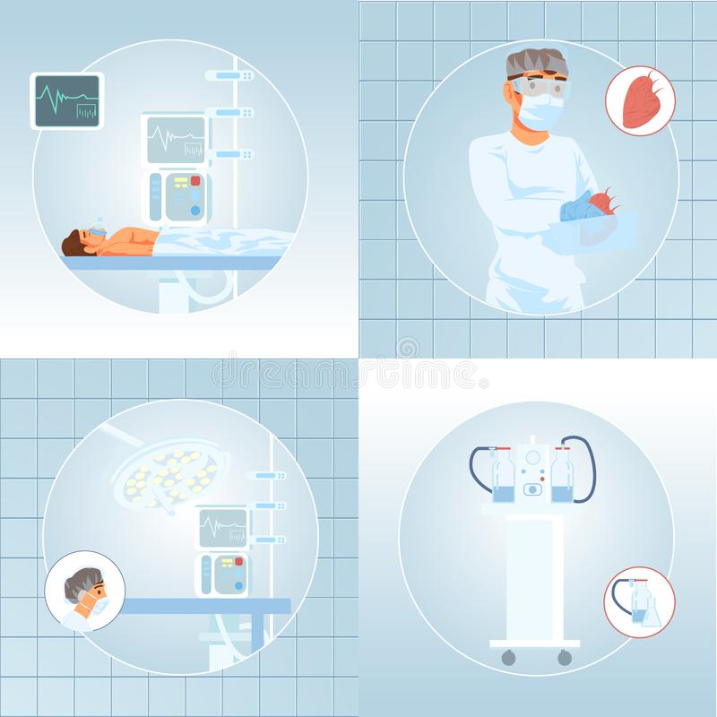 Modern Medicine Clinic Surgery Cartoon Vectors Set. Patient Under Influence of Anesthesia Lying on Operation Desk, Surgeon Holding Removed, Suitable for royalty free illustration