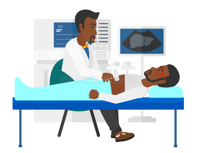 Patient under ultrasound examination. An african-american patient laying in bed with ultrasonic equipment during ultrasound medical examination vector flat stock illustration