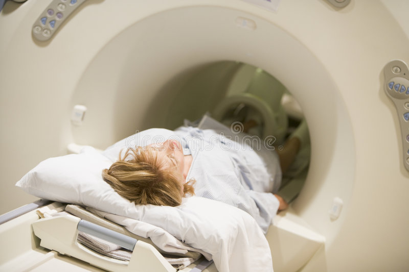 Patient Undergoing For A CAT Scan Stock Photography