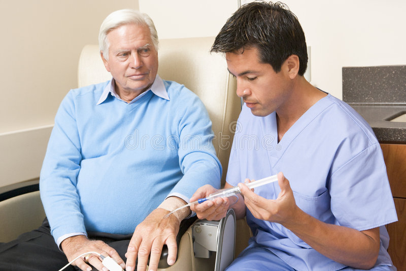 Patient Undergoing Chemotherapy Traetment stock photography