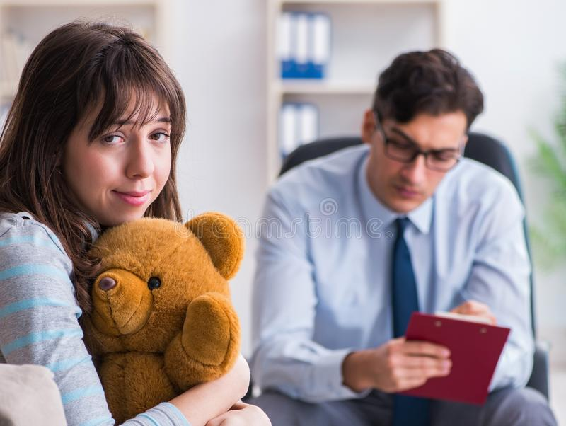 Patient visiting psychiatrist doctor for examination. The patient visiting psychiatrist doctor for examination royalty free stock image