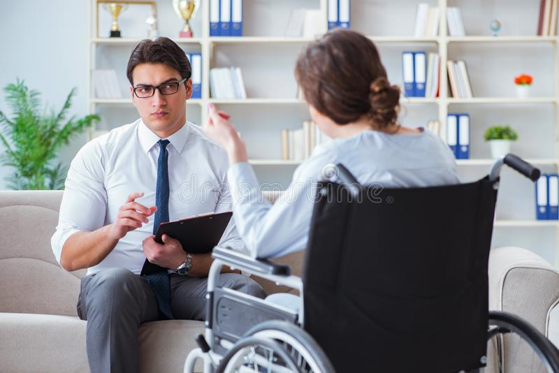 Patient visiting psychotherapist to deal with consequences of tr. Auma royalty free stock photos