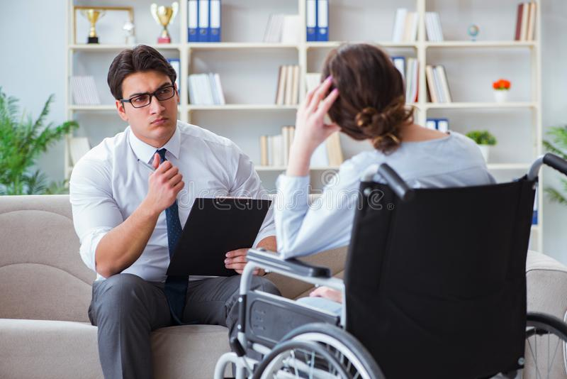Patient visiting psychotherapist to deal with consequences of tr. Auma stock image