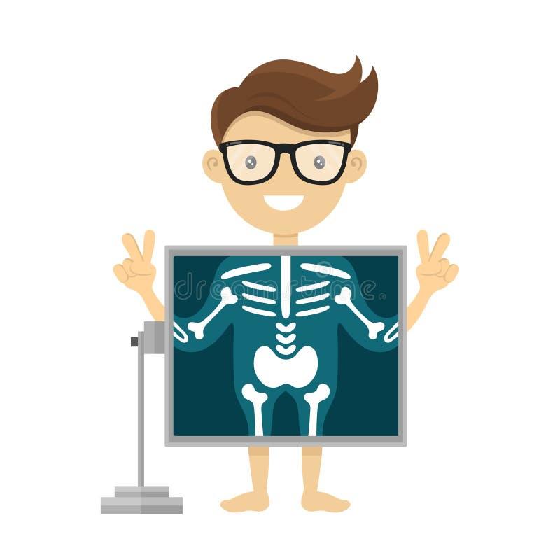 Patient während des Röntgenstrahlverfahrens Charakter-Karikaturillustration des Vektorradiologeröntgenstrahls flache Lokalisiert  vektor abbildung