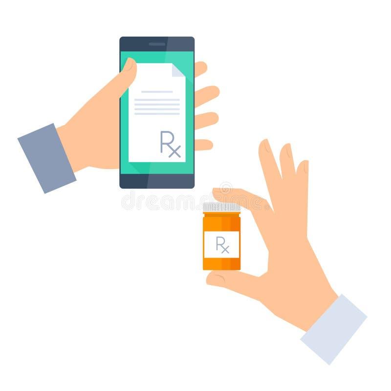 Patienten får receptet vid telefon- och buysdroger Telemedicine, stock illustrationer