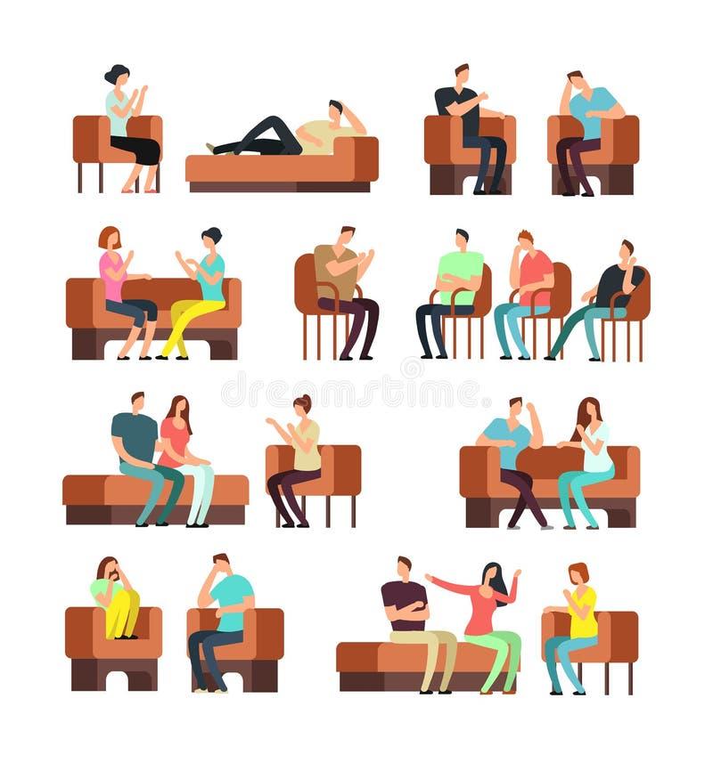 Patienten und Psychologe Psychotherapy-Unterstützung Betonte Leute, die Psychiatersvektorsatz treffen stock abbildung