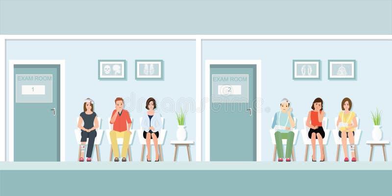 Patienter som väntar på doktorn på framdelen av examenrum royaltyfri illustrationer