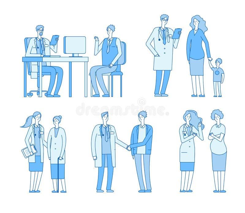 Patients de docteur Les médecins soignent parler à l'homme, clinique patiente supérieure de visite de dame âgée Vecteur linéaire  illustration libre de droits