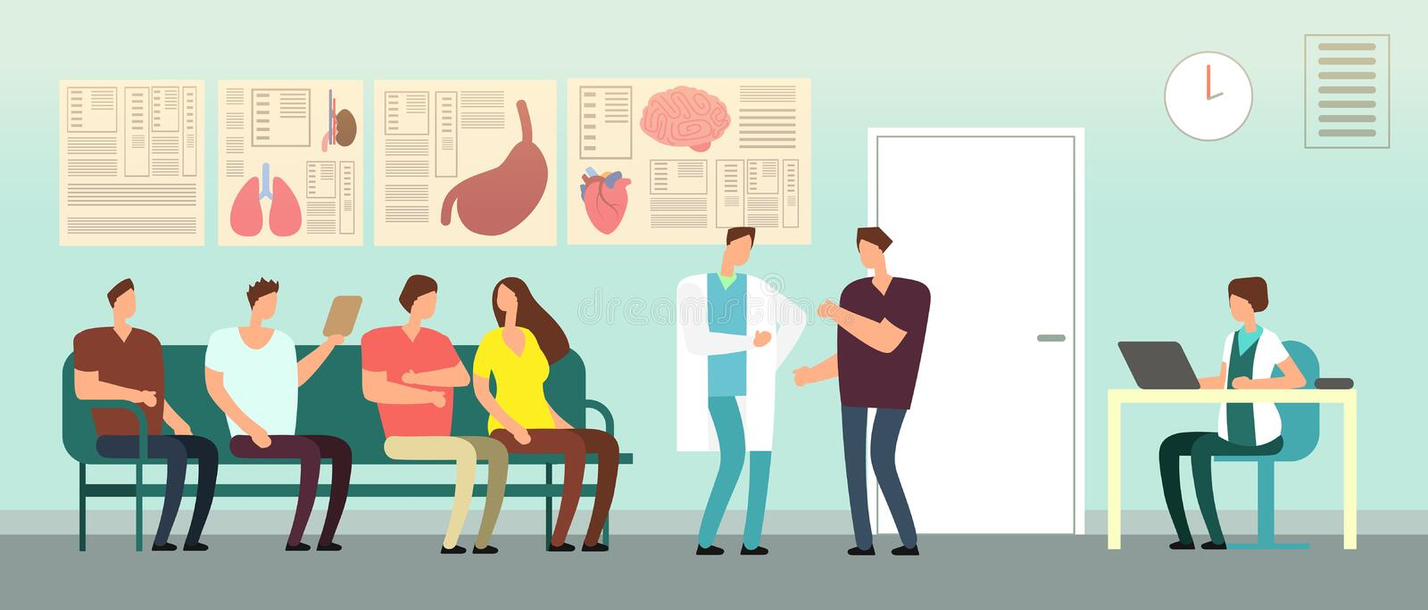Patients and doctor in hospital waiting room. Disabled people at doctors office. Healthcare vector concept vector illustration