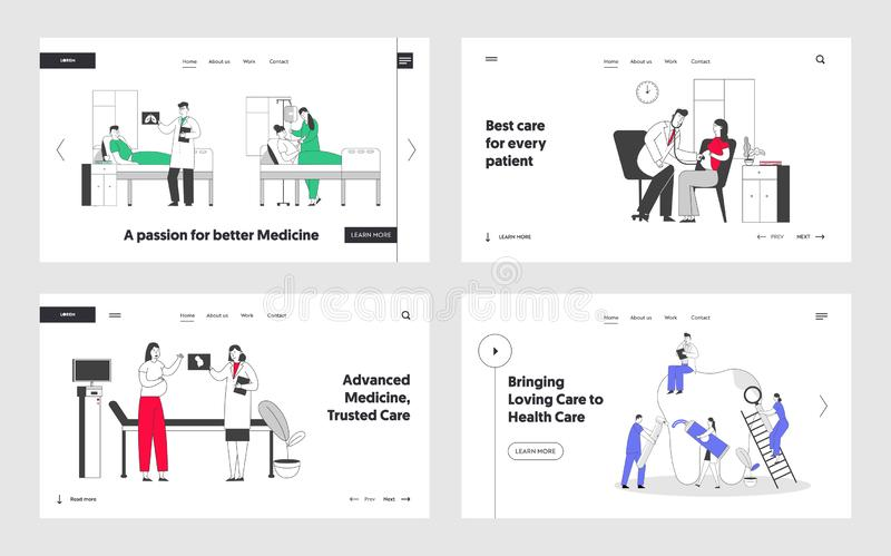 Patients in Hospital Chamber, Pregnant Woman in Clinic at Doctors Appointment, Stomatology Hygiene and Treatment. Procedures Website Landing Page Set. Web Page royalty free illustration