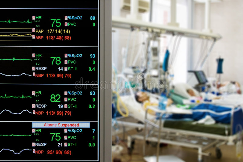 Patients monitoring in ICU. ICU monitor with several patients