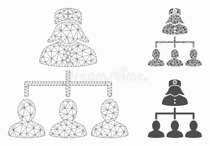 Patients Nurse Hierarchy Vector Mesh 2D Model and Triangle Mosaic Icon stock illustration