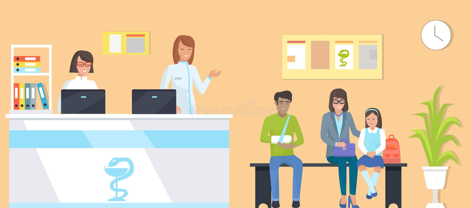 Patients at Reception Vector Illustration Orange. Patients at reception, man with broken arm and family, nurses with computers, room with clock and plant, bench royalty free illustration