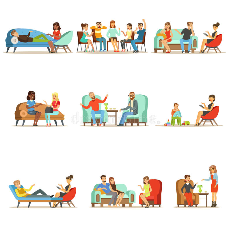 Patients at a reception at the psychotherapies. People talking to psychologist. Psychotherapy counseling, colorful vector illustration
