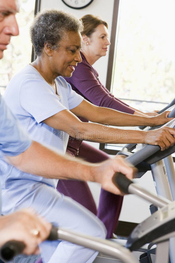 Patients In Rehabilitation With Exercise Machines royalty free stock photo