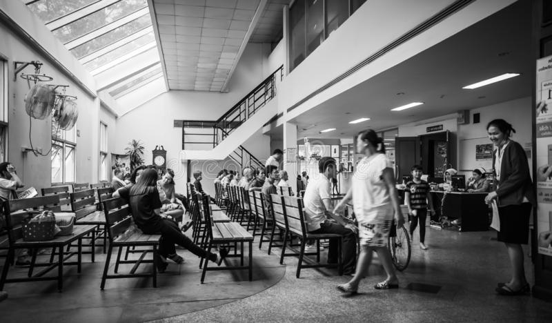 Patients were seats waiting room to receive treatment from a doctor, Backgrounds in hospital at Kluaynamthai hospital royalty free stock image