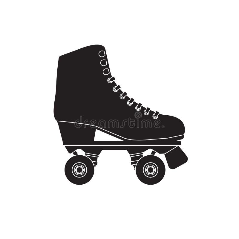Patim de rolo liso do logotipo do ícone do preto dos desenhos animados do vetor no fundo branco ilustração royalty free