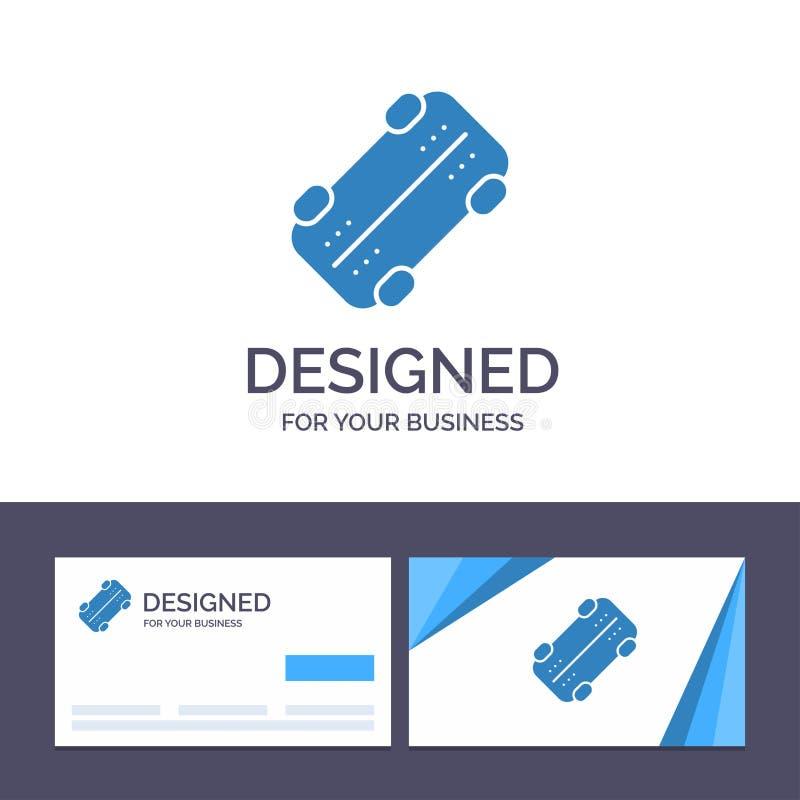 Patim do molde criativo do cartão e do logotipo, skate, ilustração do vetor do esporte ilustração royalty free