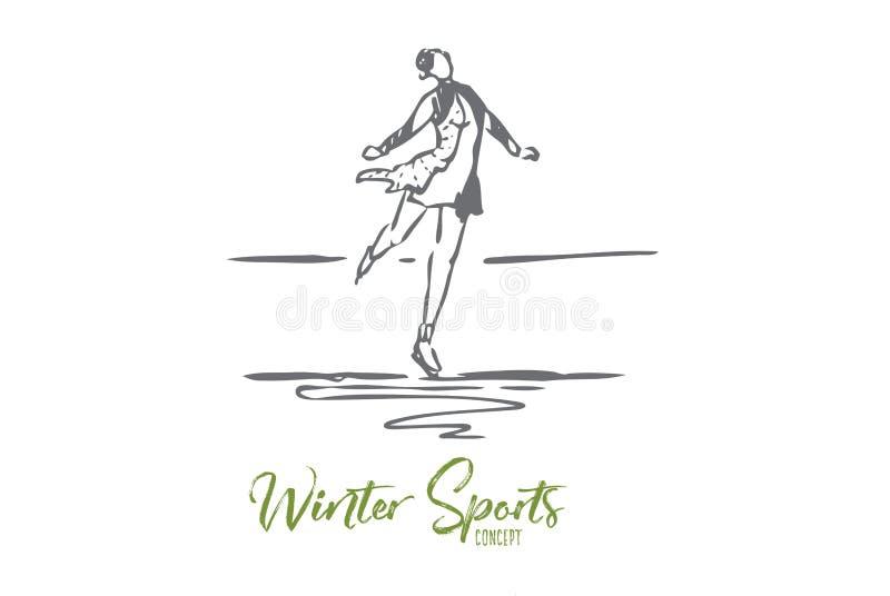 Patim, inverno, mulher, esporte, conceito do gelo Vetor isolado tirado m?o ilustração do vetor