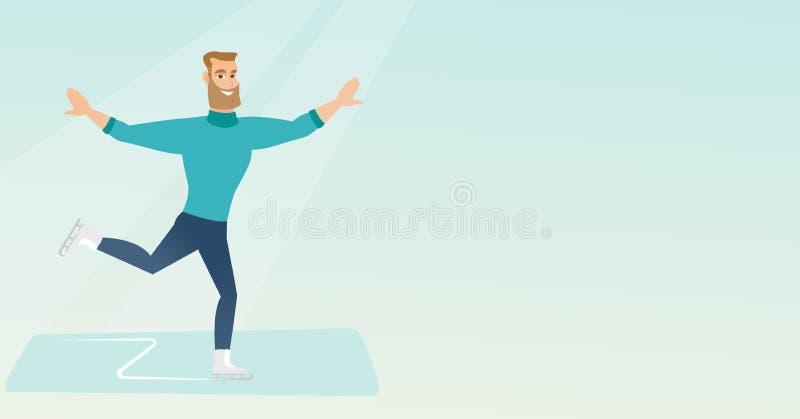Patinador artística masculino caucasiano novo ilustração do vetor