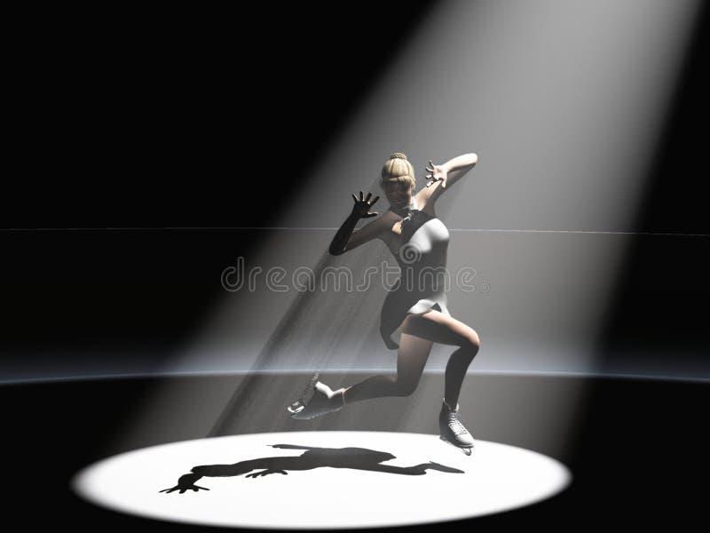Patinador bajo proyector ilustración del vector