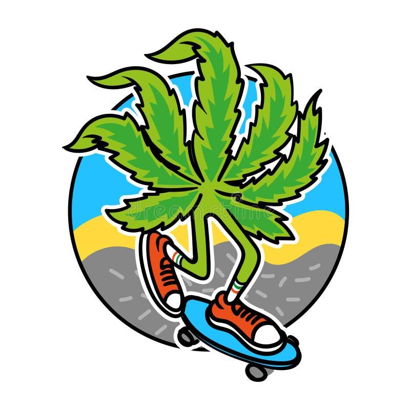 Patinador de la marijuana stock de ilustración