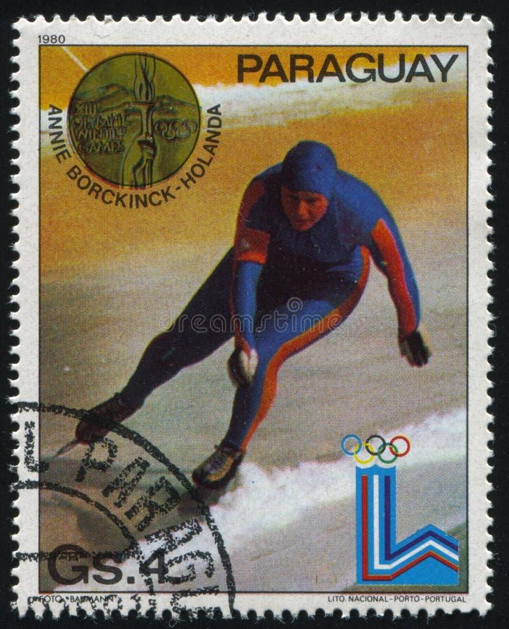 Patinador de la velocidad de Annie Borckinck en las olimpiadas de invierno en Lake Placid imágenes de archivo libres de regalías