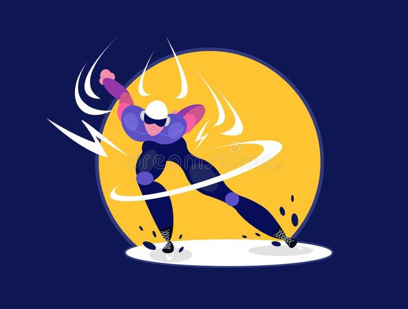 Patinador de la velocidad Arena olímpica del hielo del patinaje de velocidad del atleta del speedskater ilustración del vector